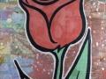 Donald Baechler, Red Tulip, 2010, tecnica mista su tela, 170 x 140 cm