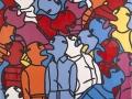 Fabrizio Dusi, Folla, 2012, Smalto su tela in pvc, 250 x 250cm