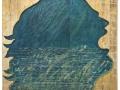 Mario Ceroli Acqua alla gola 2000 legno dipinto foglia oro e vetro193x190 cm
