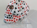 Nicola Bolla, Skull with Playcards, Resina e carte da ramino